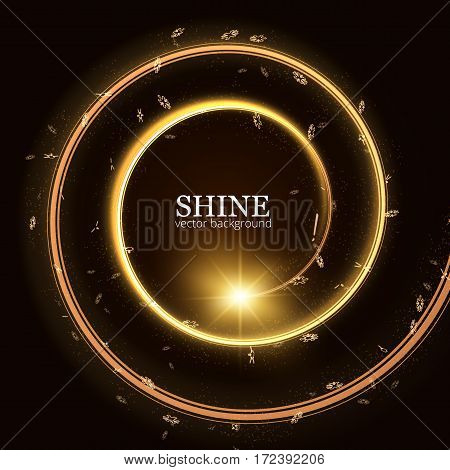 Shining spiral frame with particles trail vector background. EPS10