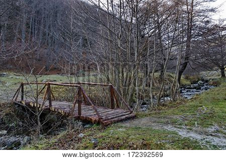 Mountain landscape with  river and interesting wooden bridge in forest, Vitosha mountain, Bulgaria