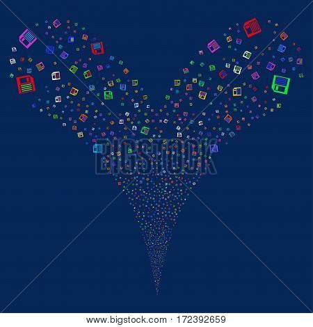 Floppy Disk fireworks stream. Vector illustration style is flat bright multicolored iconic symbols on a blue background. Object double fountain combined from random symbols.