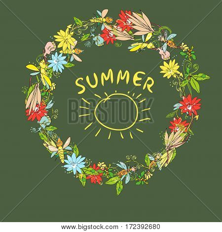 Bees,  blossoming flowers and plants in a shape of wreath, copy space in a center for text and design