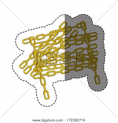 color sticker with silhouette of golden chain vector illustration