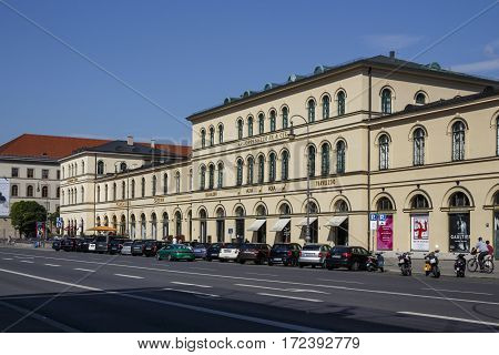 MUNICH, GERMANY - AUGUST 02, 2015: Annast House is a building at the Odeonsplatz in Munich which is famous for the Tambosi (an Italian coffee house) and also hosts several companies