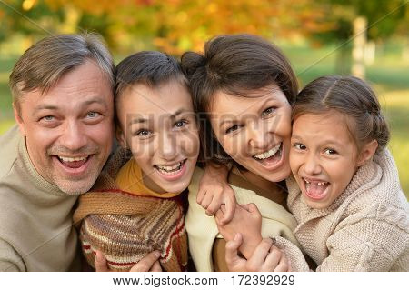 Portrait of a happy family close up