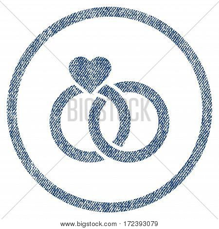 Wedding Rings textured icon for overlay watermark stamps. Blue jeans fabric vectorized texture. Rounded flat vector symbol with dirty design.