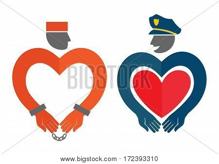Vector illustration with policeman and prisoner. Concept of love. Template for Valentine's day