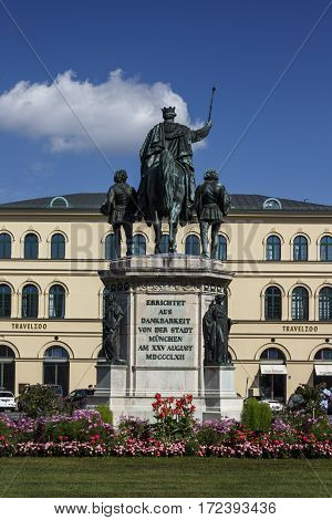 MUNICH, GERMANY - AUGUST 02, 2015: Rear view of the monument Reiterdenkmal of King Ludwig I of Bavaria which is located at the Odeosplatz in Munich