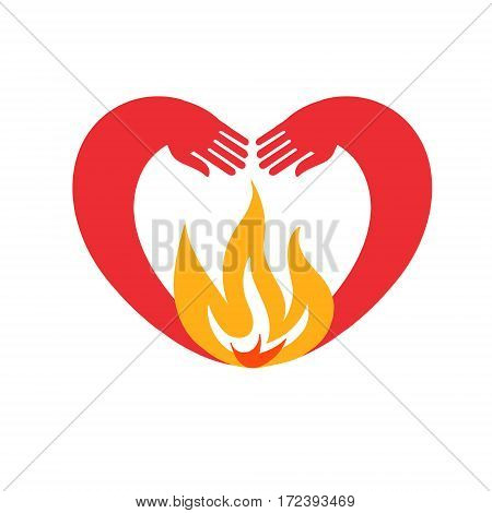 the icon of the heart. hands in heart-shaped embrace the flame