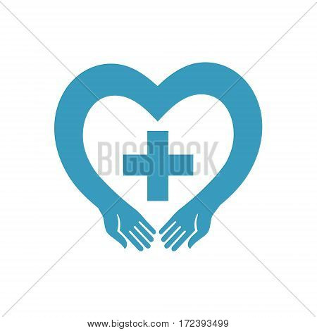 blue heart with a cross vector silhouette