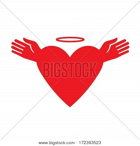 Icon heart Valentine's. Red heart with angel wings and halo. Vector illustration. Template for Valentine day.