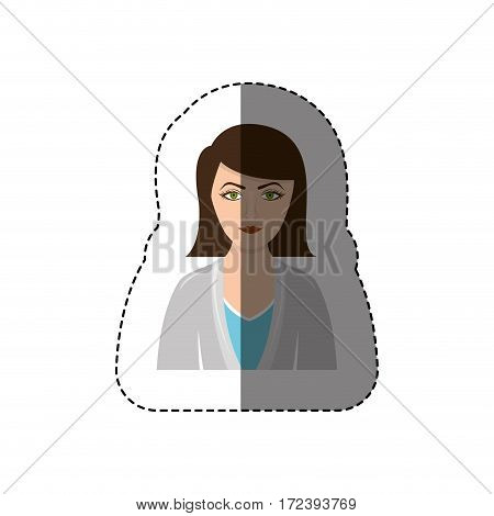 color sticker half body woman with jacket and short hair vector illustration