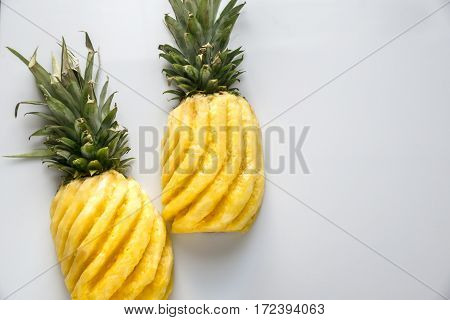 Pineapple on the white background: cross section