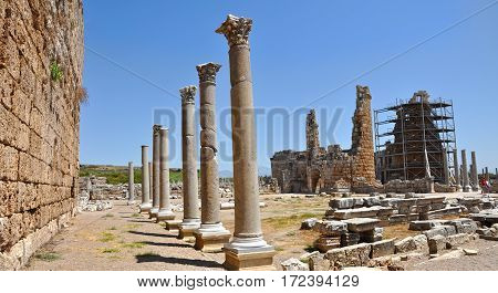Ruins of the ancient anatolian city Perge (Perga) in Turkey.