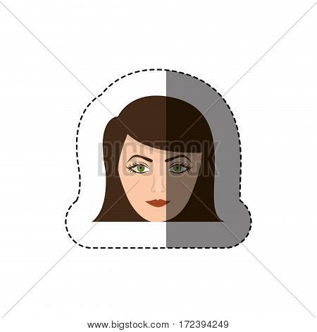 color sticker with head of woman with short hair vector illustration