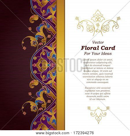Vector Ornate Card In Eastern Style.