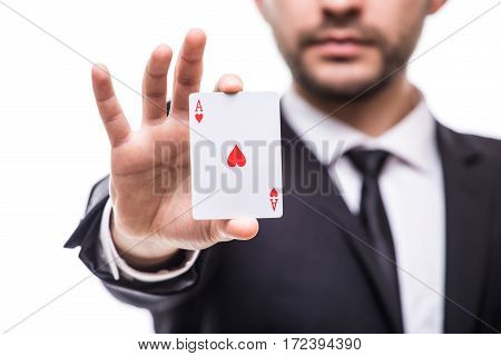 play cards luck on white background focus.