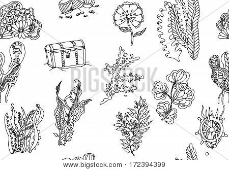Vector seamless pattern, hand drawn. Ocean background. Tropical sea life design.