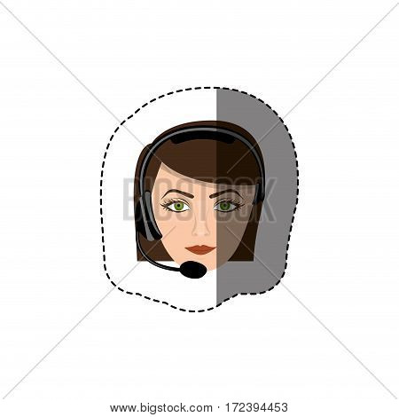 color sticker with head of female customer service vector illustration