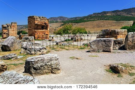 Ruins of the ancient city Hierapolis (Pamukkale). Turkey