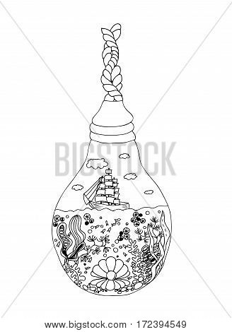 Ship in lightbulb. Vector image in black and white.