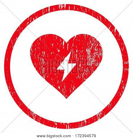 Heart Power grainy textured icon for overlay watermark stamps. Rounded flat vector symbol with dirty texture. Circled red ink rubber seal stamp with grunge design on a white background.