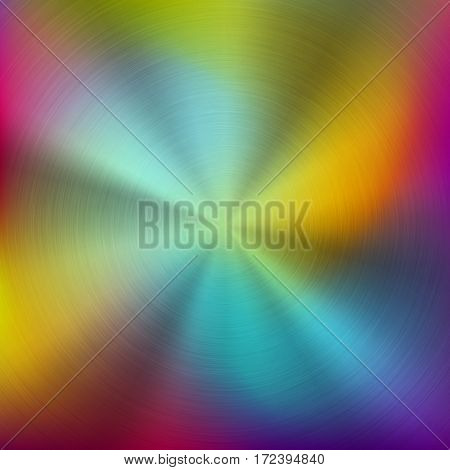 Metal abstract colorful gradient technology background with circular polished, brushed concentric texture, chrome, silver, steel, aluminum for design concepts, wallpapers. Vector illustration.