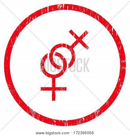 Lesbian Love Symbol grainy textured icon for overlay watermark stamps. Rounded flat vector symbol with dust texture. Circled red ink rubber seal stamp with grunge design on a white background.