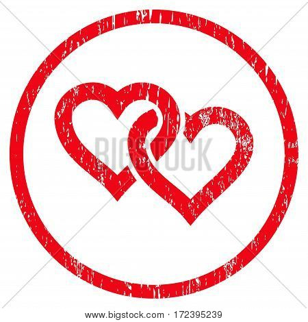 Linked Hearts grainy textured icon for overlay watermark stamps. Rounded flat vector symbol with dust texture. Circled red ink rubber seal stamp with grunge design on a white background.