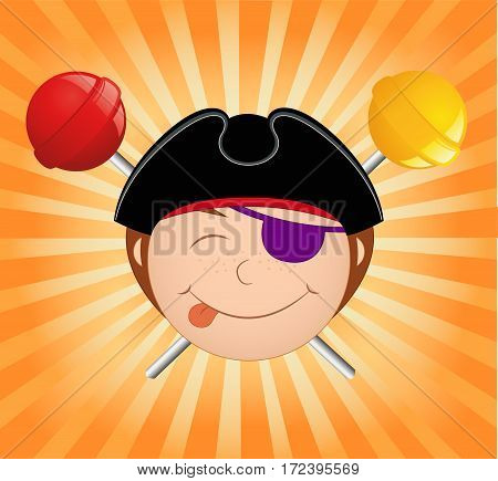 Candy Pirate. Cartoon vector illustration. Smiling boy
