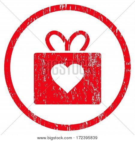 Love Gift grainy textured icon for overlay watermark stamps. Rounded flat vector symbol with dust texture. Circled red ink rubber seal stamp with grunge design on a white background.