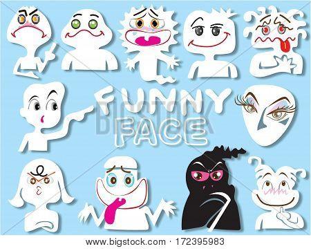 cartoon face funny set design very cute fancy art character design illustration.