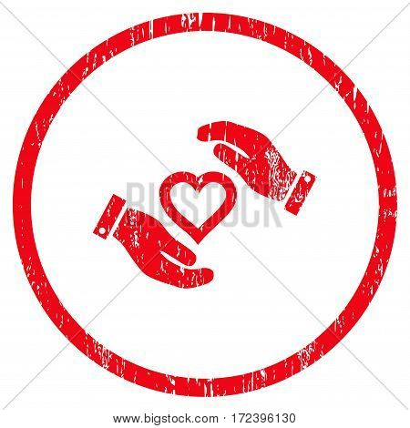 Love Heart Care Hands grainy textured icon for overlay watermark stamps. Rounded flat vector symbol with scratched texture. Circled red ink rubber seal stamp with grunge design on a white background.