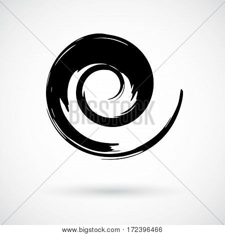 Whimsical spiral symbol. Hand painted with ink watercolor brush. Modern swirling blob button. Decorative circular coil ornament. Radial rotation snail. Graphic design element. Vector illustration.