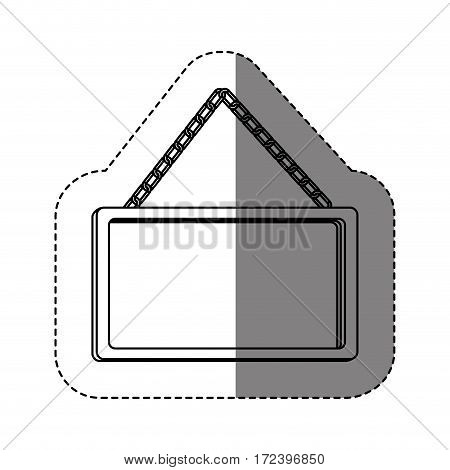 monochrome contour sticker with rectangular frame mirror with chain vector illustration