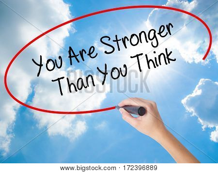 Woman Hand Writing You Are Stronger Than You Think With Black Marker On Visual Screen