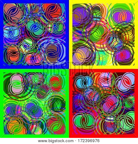 Round spiral overlapping circles of different colors. Set of abstract spiral images.