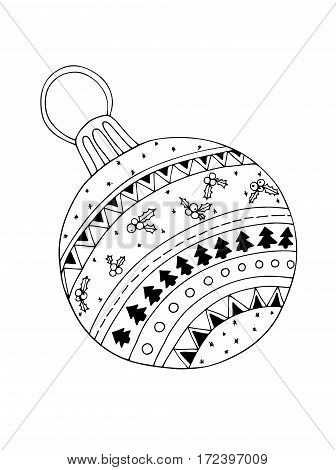 Christmas hand-drawn decorative elements in vector. Fancy Christmas balls. Pattern for coloring book. Black and white pattern. Made by trace from sketch. Zentangle