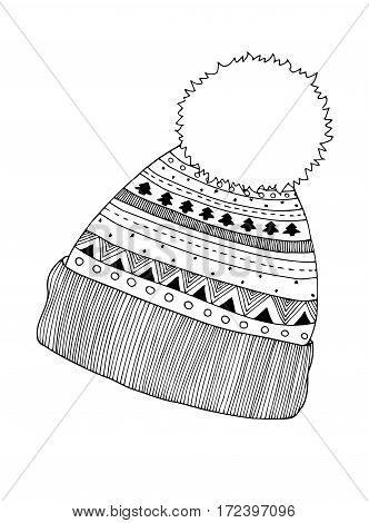Winter knitted cap in zentangle, tribal monochrome style. Hand drawn Christmas decorative elements for adult coloring book. Vector illustration for New Year.