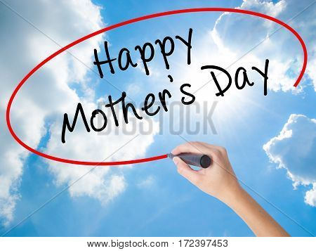 Woman Hand Writing Happy Mother's Day With Black Marker On Visual Screen