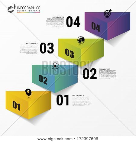 Infographics design template. Business stair step success. Vector illustration
