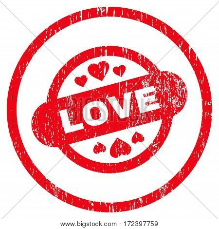 Love Stamp Seal grainy textured icon for overlay watermark stamps. Rounded flat vector symbol with scratched texture. Circled red ink rubber seal stamp with grunge design on a white background.