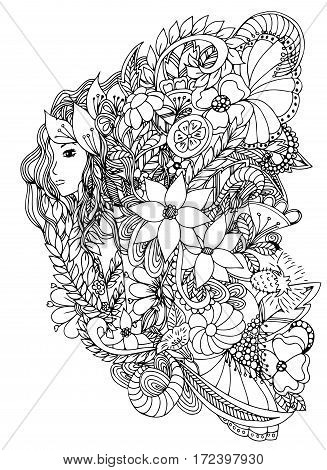 Beautiful woman with snail. Design for coloring book adults. Coloring page, zentangle style, hand drawn vector print. Black White.