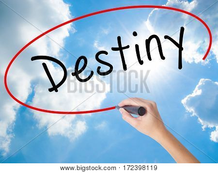 Woman Hand Writing Destiny Black Marker On Visual Screen