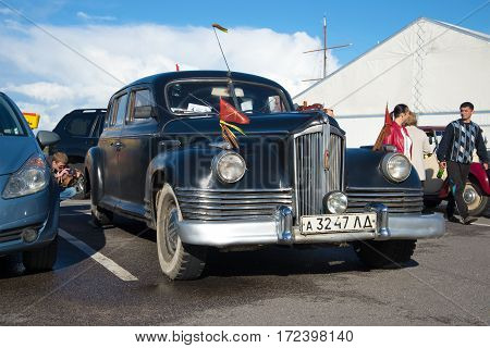 SAINT PETERSBURG, RUSSIA - SEPTEMBER 04, 2016: Soviet executive car ZIS-110 (1945.) closeup. The parade of retro transport in Kronstadt