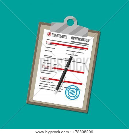 Clipboard with application form paper blank with seal and pen. Vector illustration in flat style