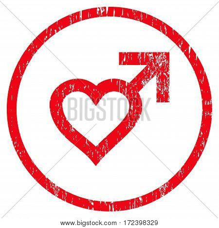 Male Heart grainy textured icon for overlay watermark stamps. Rounded flat vector symbol with dirty texture. Circled red ink rubber seal stamp with grunge design on a white background.