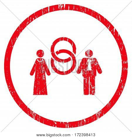 Marriage Persons grainy textured icon for overlay watermark stamps. Rounded flat vector symbol with unclean texture. Circled red ink rubber seal stamp with grunge design on a white background.