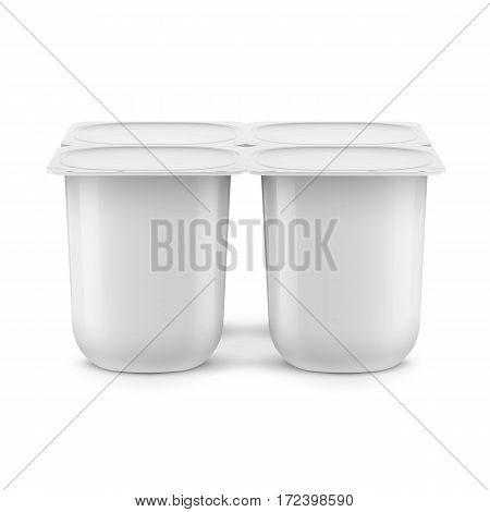 White glossy plastic pot with foil cover for yogurt, cream, dessert or jam. Rounded square form. 115 g. Pack of four. Realistic packaging mockup template. Upper view. Vector illustration.