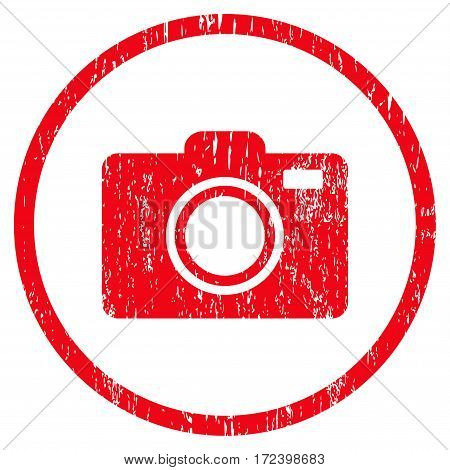 Photo Camera grainy textured icon for overlay watermark stamps. Rounded flat vector symbol with scratched texture. Circled red ink rubber seal stamp with grunge design on a white background.
