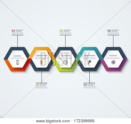 Infographic template of hexagonal elements. Business concept with 5 options, steps, parts, segments. Vector banner for web, timeline infographics, workflow layout, diagram, chart, annual report