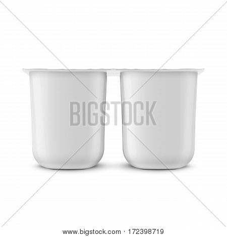 White glossy plastic pot with foil cover for yogurt, cream, dessert or jam. Rounded square form. 115 g. Pack of four. Realistic packaging mockup template. Front view. Vector illustration.